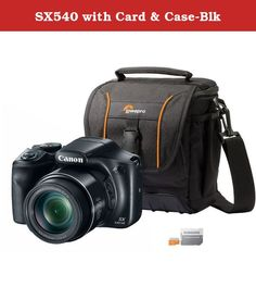 SX540 with Card & Case-Blk. The Canon 1067C001-3KIT comes with the PowerShot SX540 HS digital camera, Adventura SH 140 II Shoulder Bag and a Samsung 16GB Micro SD EVO Memory Card. The incredible PowerShot SX540 HS is a camera that takes beautiful photos and video in the daytime and at night even in low-light settings. Its powerful 50x Optimal Zoom and Optical Image Stabilizer make the PowerShot SX540 HS a must-have for professional photographers and novices alike. Every day and everywhere...