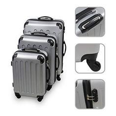 Set de 3 valises Trolley argent – Valises rigides à roulettes avec sécurité