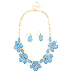 Turquoise And Gold Teardrop Statement Necklace And Earring Set