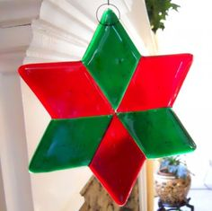 Transparent Red and Green Star Fused Glass Christmas Ornament - 6 Inch | ResetarGlassArt - Seasonal on ArtFire
