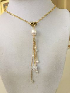 48f1f464199169 12-13mm South Sea Pearl Adjustable Lariat Necklace, 18k Gold w ...
