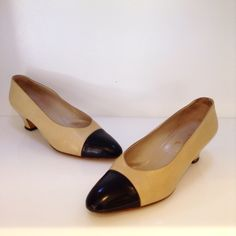 Vintage Chanel nude leather heels with contrasting black leather toe. Size 39.5. Please call (949)715-0004 for inquiries.