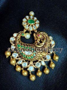 Kundan Work Parrot Pendant | Jewellery Designs