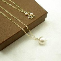 Pearl Necklace, Pearl Jewelry, Single Pearl Necklace, Pearl Bridal Ne�� by Jersica