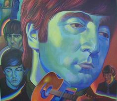 "You have to love the ""Fab Four"" 1 billion,200 million records sold...placing them in the #1 position of world record sales. This piece features John (as the groups original founding member) , and has been captured in acrylic on a 4' x 4' canvas. Of course it's for sale ! just contact us for a chat! e mail: mark@mratomicart.com   ""We welcome comments!"""