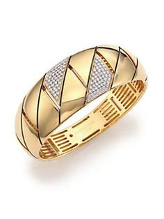 Roberto Coin - Appassionata Diamond & 18K Yellow Gold Groumette Bangle Bracelet