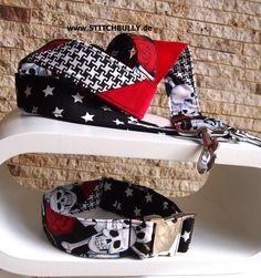 Halsband und Leine Set in Totenkopf Patchwo XL 4cm von stitchbully.de macht buntes für Hunde auf DaWanda.com