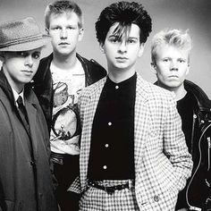 An early photograph of Depeche Mode (L-R: Martin Gore, Andy 'Flech' Fletcher, Dave Gahan, Vince Clarke) 1981'ish