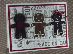 Stampin' Up!'s Cookie Cutter Christmas stamp set featuring the gingerbread cookie.  Also used is the Merry Medley stamp set stamped in soft suede.