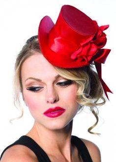 Burlesque Gothic Red Satin Mini Top Hat