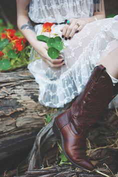 Sheer dress + cowboy boots