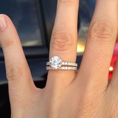 Solitaire engagement ring with side stones and diamond #weddingband #engagementring