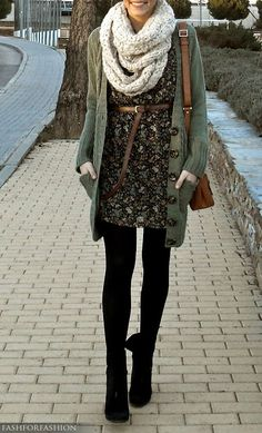 I love the ideas in this outfit, and put together, I've just met the perfect fall/winter live-in uniform: Layering -- a go-to always; Chunky scarf -- a must; and the ease of cozy tights and comfy little boots. Yes! (www.DinaMcQueen.com)