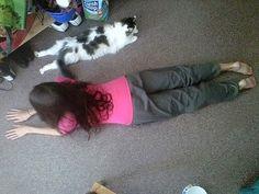 Katie and Moo doing yoga