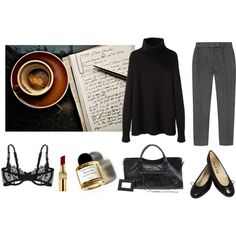 A fashion look from December 2014 featuring black turtleneck sweater, tweed trousers and black lace bra. Browse and shop related looks.