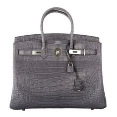 HERMES BIRKIN BAG 35CM GRIS PARIS (GREY) MATTE CROC ALLIGATOR PH ❤ liked on Polyvore featuring bags and hermes