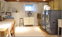 Remodel of unfinished basement laundry room... I too will someday have a finished laundry room
