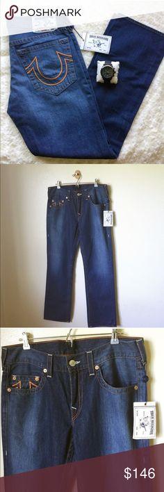 "TRUE RELIGION straight jeans TRUE RELIGION straight jeans with orange stitching; size 34x34""; new with tag True Religion Jeans Straight"