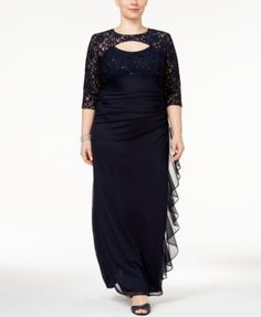 Betsy & Adam Plus Size Lace Ruffled Gown