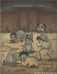 "A-Yokai-A-Day: Gaki Posted on Wednesday October 21st, 2015 Today's yokai also comes to us from Indian folklore, brought to Japan with the coming of Buddhism, just as the ashuras were. In fact, you could almost consider this yokai to be the opposite of an ashura.  In Buddhism, there are 6 ""realms"" of rebirth: heaven, ashura/asura, humans, animals, gaki (or hungry ghosts), and hell. When you die, you will be reincarnated in one of these realms.  Where you are rebord depends on the karma you…"