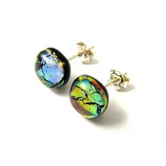LAGUNA S Glass Earrings  fusing handmade sterling by StefanoArt, $12.00