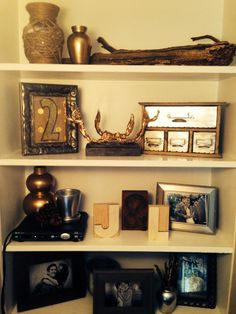 Metallic Rustic Bookshelf Decor