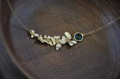 Gold Dogwood Necklace with Glass Crystal/ by YsmDesigns on Etsy