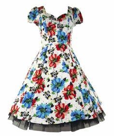 Amazon.com: 50's Vintage Tea Prom Poppy Floral Dress - 14 (US), 16 (UK): Clothing