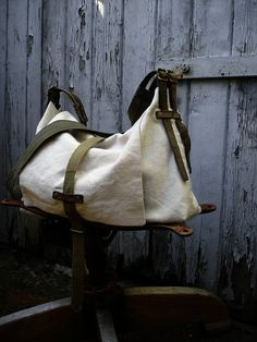Bag made from vintage European army gear $160