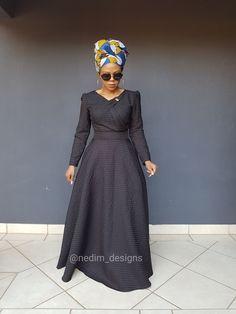 Black Dresses @nedim_designs on Instagram or +27829652653 Ankara Maxi Dress, African Maxi Dresses, African Attire, African Wear, African Outfits, Elegant Dresses, Pretty Dresses, Shweshwe Dresses, African Traditional Dresses