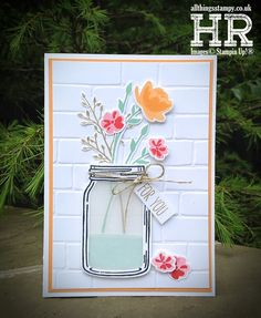 mason jar projects are offered on our site. Read more and you wont be sorry you did. Mason Jar Cards, Mason Jar Diy, Wine Bottle Crafts, Jar Crafts, Mason Jar Projects, Flower Cards, Diy Projects To Try, Homemade Cards, Stampin Up Cards
