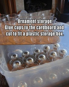 ornament storage.  Maybe write on cup the year and whose ornament it is.