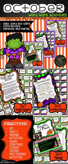 These October word work activities are a super fun way for kids to increase reading fluency and grammar skills. Click here to see how easy these activities can be incorporated into your ELA lesson plans while hitting many Common Core language standards. This October bundle is perfect for whole group Kagan Structures, RTI, partner activities, early finisher activities, phonics practice, ELL/ESL lessons, The Daily 5 Work on Words activities, literacy centers, inside recess games, and more!