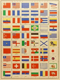 Vintage Flags Print 1900 Antique Color Print, World Flags, Historical Flags, Patriotic Print, Red White and Blue Wall Art available from OldMapsandPrints on Etsy Vintage Flag, Vintage Maps, Vintage Colors, Jorge Martinez, Old Maps, Flags Of The World, Blue Art, Antique Prints, Coat Of Arms
