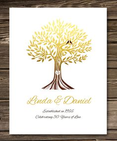 50th wedding anniversary tree gift anniversary gift for parents 50th wedding anniversary tree gift anniversary gift for parentsparents inlaw oak tree 8 x 10 poster print custom colors fonts wedding anniversary stopboris Image collections
