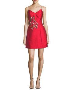Mestiza New York Sleeveless Bell Cocktail Dress w/ Flamingo Embroidery