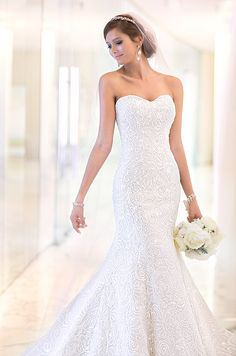 Strapless beaded wedding dress by Essense Of Australia, Spring 2014