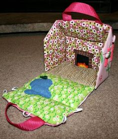 Interior of fabric doll house with felt fireplace!  CUTE!
