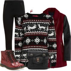 Red,White and Black Cosy Outfit