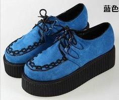 2013 women HARAJUKU vintage punk gothic creepers platform shoes flats platform shoes plus size women's shoes lace-inFlats from Shoes on Alie...