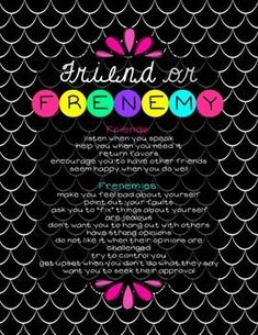 "Freebie - Help girls distinguish between true friends and frenemies. You might also like:Friend or Frenemy BundleSelf-Respect LessonBling the Teacher's Lounge with these FUN ""Positive Affirmations"" Posters Elementary School Counseling, School Social Work, Group Counseling, School Counselor, Elementary Schools, School Teacher, Friendship Activities, Friendship Group, Girl Drama"