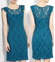 DKNY Teal Lace Dress - This would make for a breath-taking bridesmaids dress