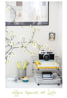 Quick fixes... cherry blossom branches, wire paper organizers, color coordinated pencils