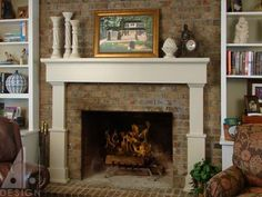 """From books to logs and jars to flowers there are so many ways to decorate an old fireplace mantel in your home. """"Warm yourself"""" with this gallery of inspiration and consider how to add a touch of old world charm with your own reclaimed mantel! Antique Fireplace Mantels, Marble Fireplace Mantel, Small Fireplace, Rustic Fireplaces, Marble Fireplaces, Fireplace Design, Fireplace Ideas, Fireplace Remodel, Fireplace Redo"""
