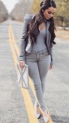 Shades of Grey women fashion outfit clothing stylish apparel closet ideas Look Fashion, Fashion Outfits, Womens Fashion, Fashion Trends, Grey Fashion, Urban Fashion, Fashion Clothes, Fashion Inspiration, Mode Chic