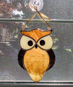 Stained Glass Owl Suncatcher Bird Window by StainedGlassYourWay