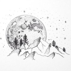 Super Line Art Drawings Sketches Pens Ink Ideas Wave Drawing, Moon Drawing, Painting & Drawing, Drawing Artist, Drawing Trees, Drawings Of Trees, Landscape Drawings, Mountain Drawing, Mountain Tattoo