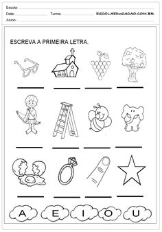 Atividades com Vogais - Primeira Letra Mais Educational Activities, Preschool Activities, English Grammar Worksheets, Letter Worksheets, Spanish Teaching Resources, Spanish Classroom, Education English, First Day Of School, Kindergarten