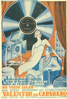 Valentim de Carvalho Vintage Advertising Posters, Retro Poster, Art Deco Posters, Poster Ads, Vintage Travel Posters, Vintage Advertisements, Vintage Ads, Vintage Images, Vintage Records