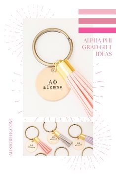 Celebrate your Alpha Phi Grad with these trendy custom keychains! Alpha Phi Grad Gift | APhi Sorority Grad Keychain | College Graduation Gift Idea | Grad Gift for Her | Grad Gift for Girlfriend | Grad Gift for Daughter | Grad Gifts for Best Friends | Best Grad Quotes | Graduation Tassel Keychains #HappyGraduation #SororityGrad Delta Gamma, Phi Sigma Sigma, Kappa Alpha Theta, Delta Sorority, Tri Delta, Alpha Chi, Sorority Graduation, Graduation Tassel, College Sorority